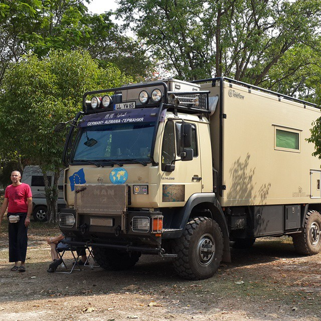 Met a guy today driving from #Germany to #Vietnam check out his cool #RV #roadtrip2015