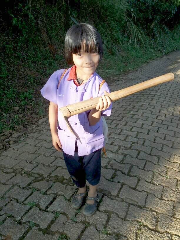 Thai student carrying farming tool to school