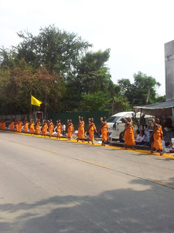 Thousands of monks walking the streets